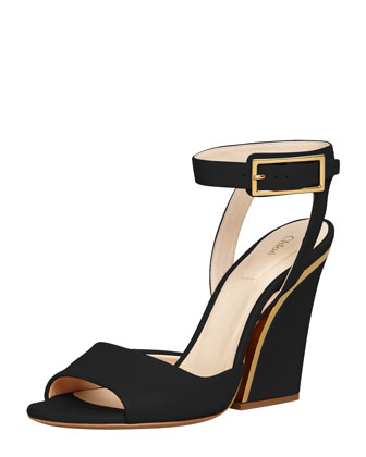 Thick-Heeled Ankle-Wrap Sandal, Black