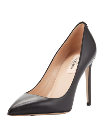 Rockstud-Back Leather Point-Toe Pump, Black