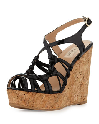 Strappy Patent Cork Wedge Sandal, Black