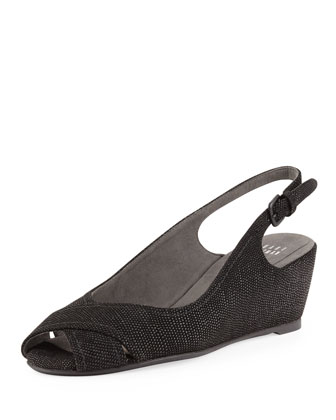 Axiom Goosebump Slingback Wedge, Black