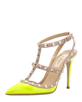 Rockstud Two-Tone Slingback Sandal, Yellow
