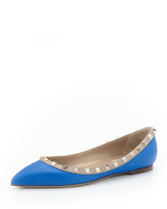 Rockstud Leather Ballerina, Blue