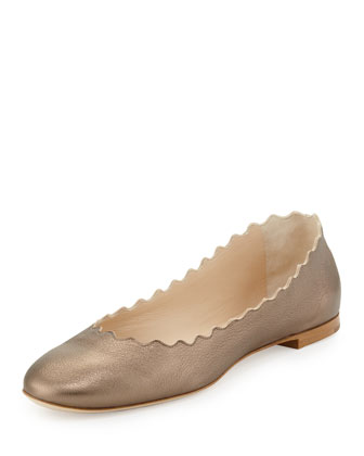 Scalloped Metallic Ballerina Flat, Silver