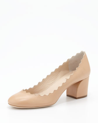 Scalloped-Collar Pump, Apricot