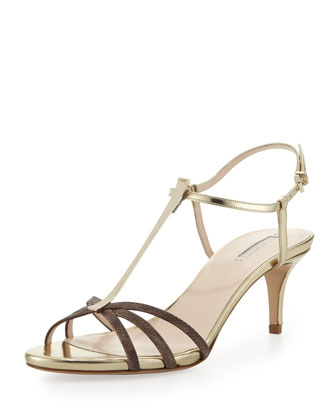 Snake Low-Heel T-Bar Sandal