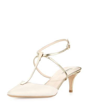 Low-Heel T-Bar Ankle-Strap Sandal