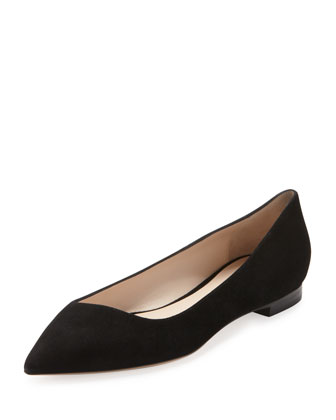 Suede Point-Toe Ballerina Flat, Black