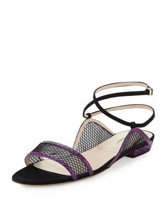 Snake & Mesh Ankle Wrap Sandal