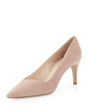 Leather Low-Heel Point Pump, Poudre