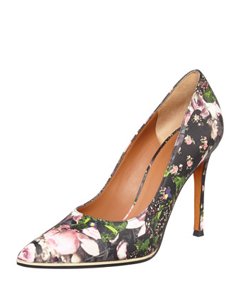 Floral Metal-Midsole Pointy Pump