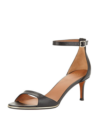 Low-Heel Ankle-Wrap d'Orsay Sandal, Black