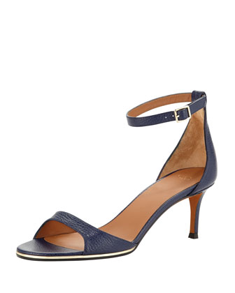 Low-Heel Ankle-Wrap d'Orsay Sandal, Blue