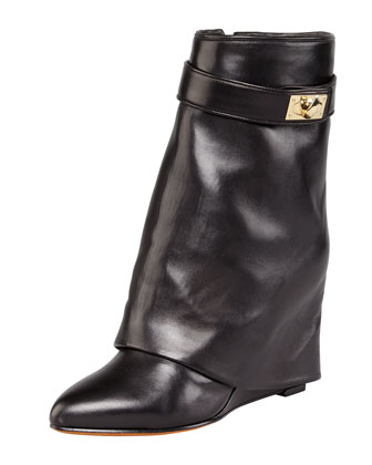 Leather Shark-Lock Fold-Over Boot