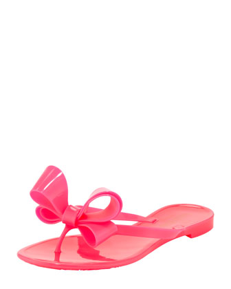 Jelly PVC Bow Thong Sandal, Pink