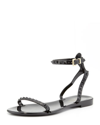 Rockstud Ankle-Wrap Jelly Sandal, Black