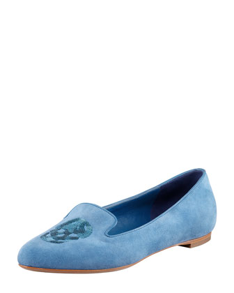 Embroidered Sequined Skull Smoking Slipper, Cadet Blue
