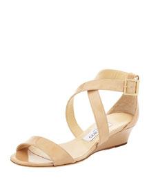 Chiara Demi-Wedge Crisscross Sandal, Nude