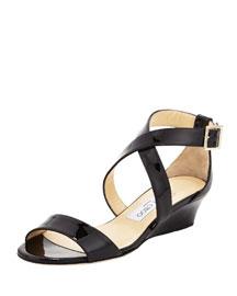 Chiara Demi-Wedge Crisscross Sandal, Black