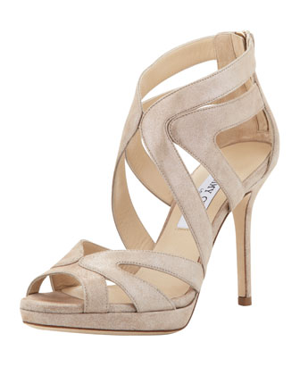 Karla Crisscross Leather Sandal, Sand