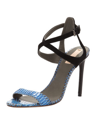 Snake and Suede Harness Sandal