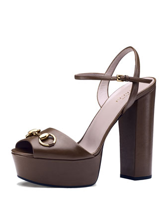 Claudie Leather Platform Sandal, Brown