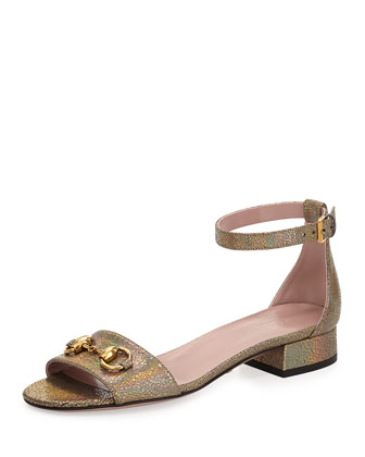 Liliane Mirrored Leather Flat Sandal