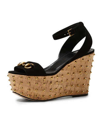 Lilianne Studded Suede Wedge Sandal, Black