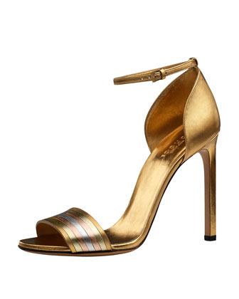 Cara Metallic Web-Effect Sandal