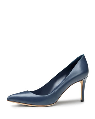 Brooke Mid-Heel Point-Toe Pump, Blue