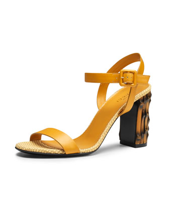 Dahlia Leather Ankle-Wrap Sandal, Yellow