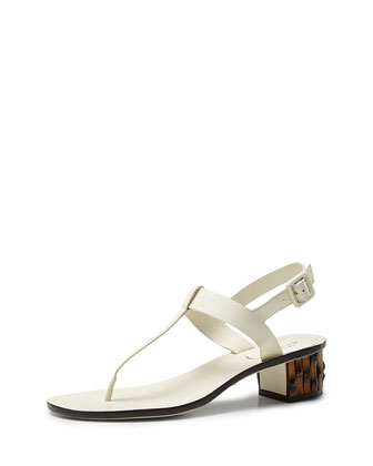 Dahlia Bamboo-Heel Leather Thong Sandal, White