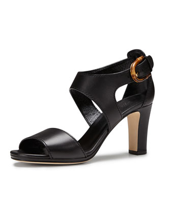 Nadege Mid-Heel Leather Sandal, Black