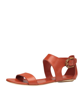 Nadege Leather Ankle-Wrap Sandal, Orange