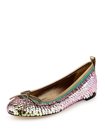 Ali Mermaid Sequin Ballerina Flat, Silver