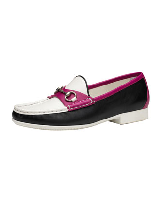 Colorblock Leather Loafer, Pink/White/Black