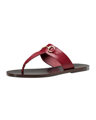 Horsebit Flat Thong Sandal, Red