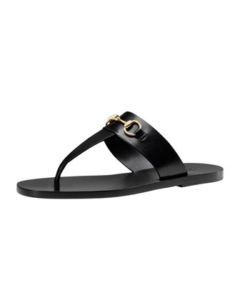 Horsebit Flat Thong Sandal, Black