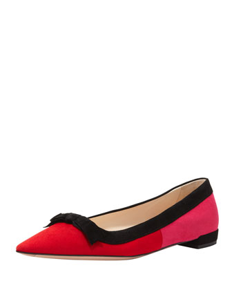 Suede Tricolor Pointed-Toe Ballet Flat with Bow, Red/Pink