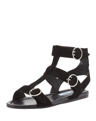 Suede Triple Buckle Flat, Black
