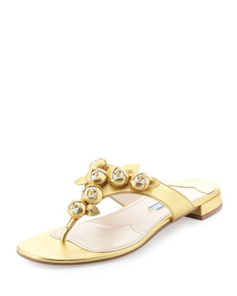Metallic Rose Thong Sandal, Gold/White