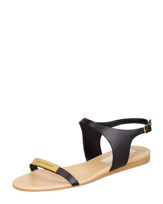Logo-Plaque Flat Sandals, Black
