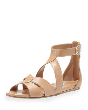 Napa Crisscross Flat Leather Sandal, Tan