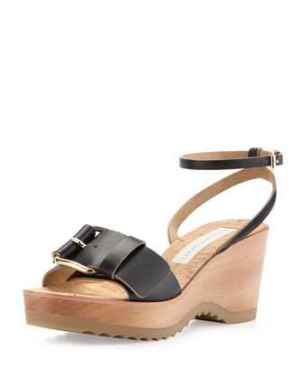 Linda Ankle-Wrap Cork Wedge Heel, Black