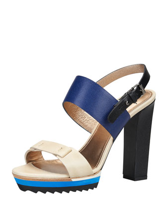 Double-Strap Platform Sandal, Royal/Multi