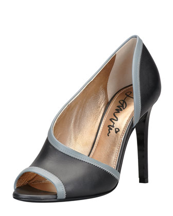 Peep-Toe d'Orsay Pump, Black/Gray