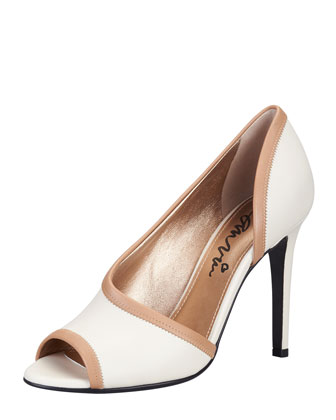 Peep-Toe d'Orsay Pump, White/Tan