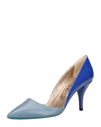 Low-Heel Bicolor Pointed Single-Sole Pump, Blue