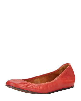 Scrunched Leather Ballerina Flat, Poppy