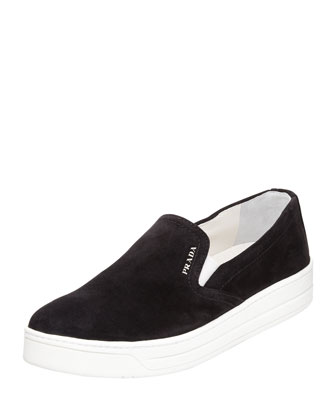 Suede Slip-On Sneaker, Black