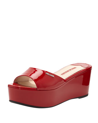 Patent Leather Flatform Slide, Red